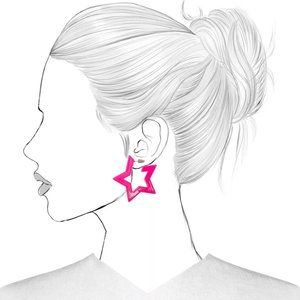 Neon Pink Acrylic Star-shaped Earrings